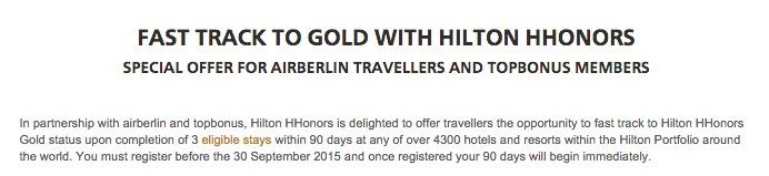 Hilton muda o fast track para o Gold: o registro tem que ser feito até 30.09.2015