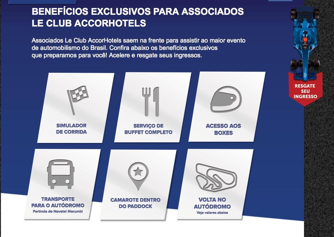 Clientes Accor Le Club podem trocar pontos por ingressos da corrida do GP de Interlagos da Fórmula 1