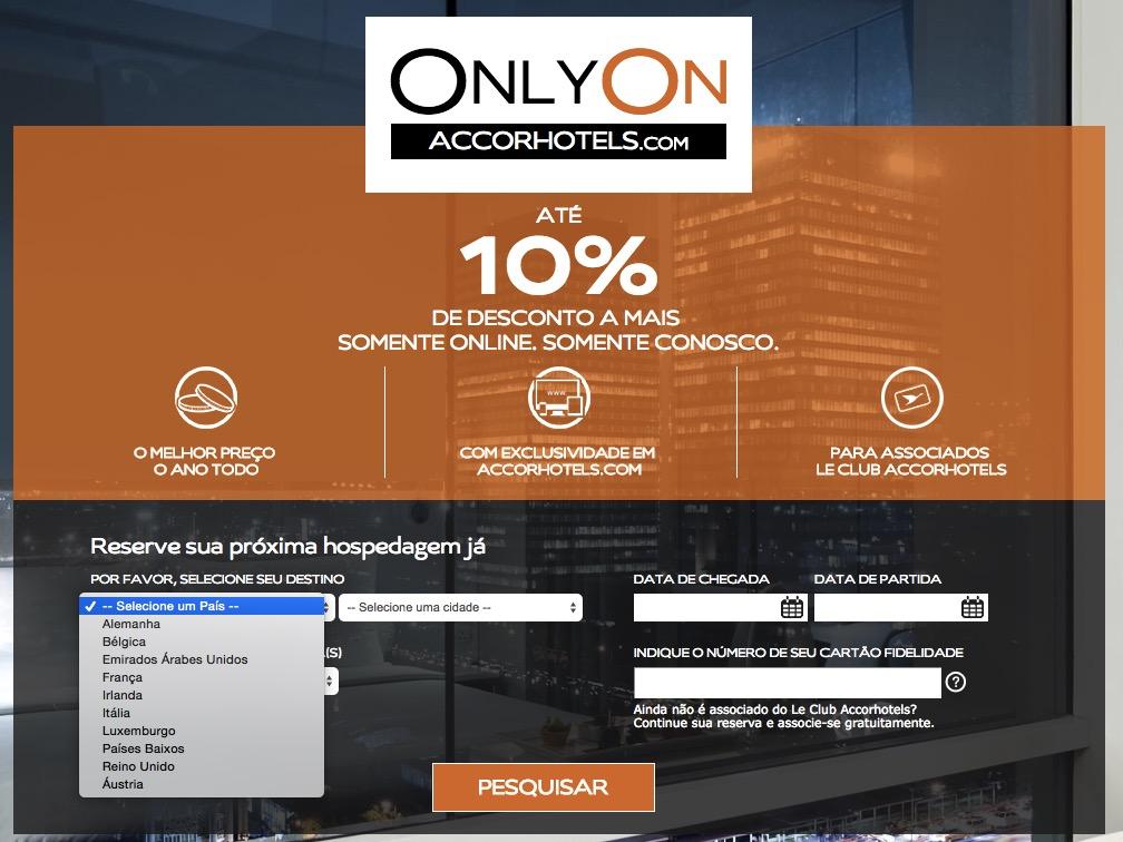 Accor amplia a promoção Only On, com até 10% de desconto adicional, para 10 países, e centenas de hotéis