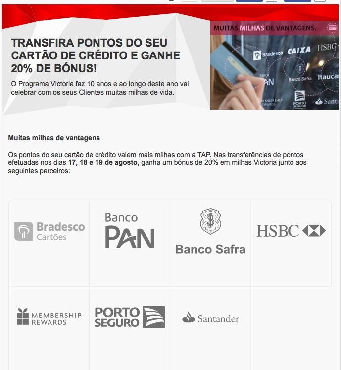 Victoria TAP oferecerá 20% de bônus de transferência de cartões de crédito; cartões Caixa excluídos!