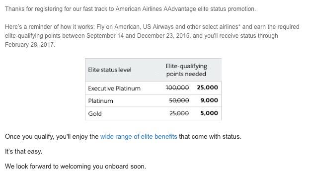 Promoção Fast Track do AAdvantage *confirmada* para quem se inscreveu no challenge