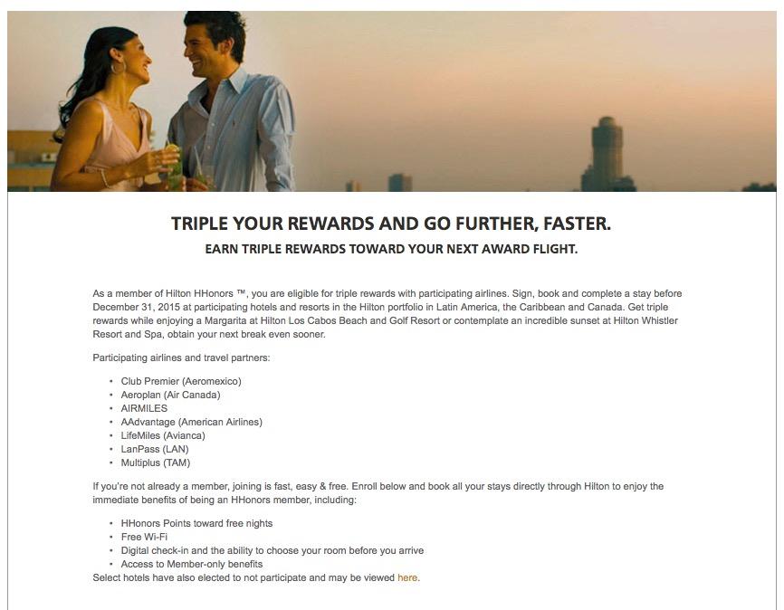 Ganhe o triplo de milhas aéreas, em hotéis selecionados, no programa Hilton Honors