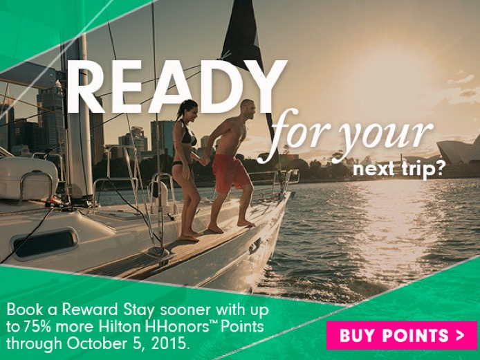 Hilton Honors oferece até 75% de bônus na compra de pontos. 140k pontos por R$ 3.489,26.
