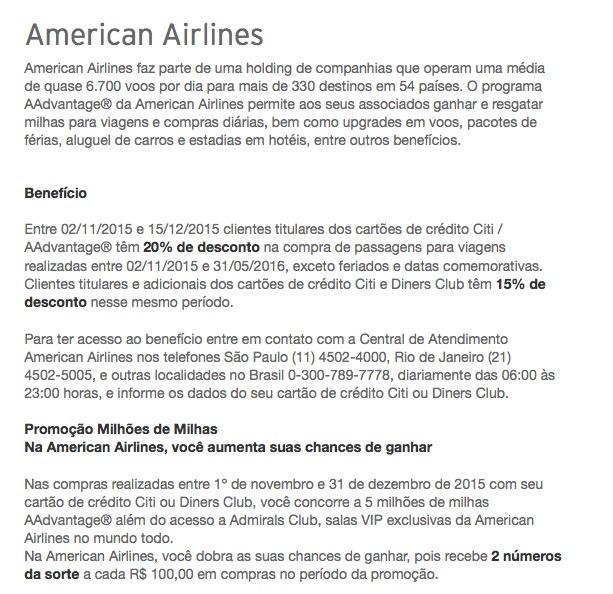 Titulares dos cartões de crédito Citi AAdvantage têm 20% de desconto na compra de passagens na American Airlines [para viagens até maio de 2016]