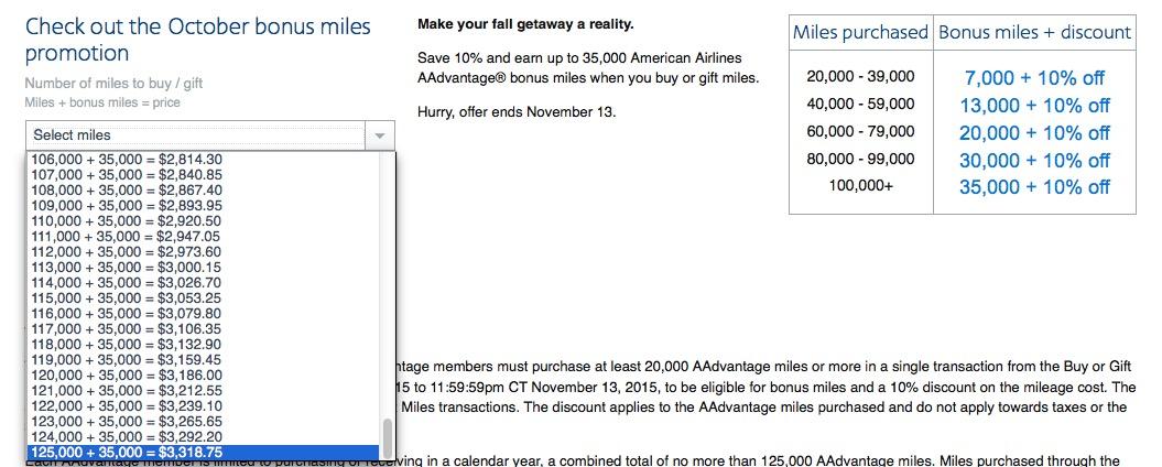 AAdvantage oferece nova promoção de compra de milhas. 160k milhas por USD 3.318,75.