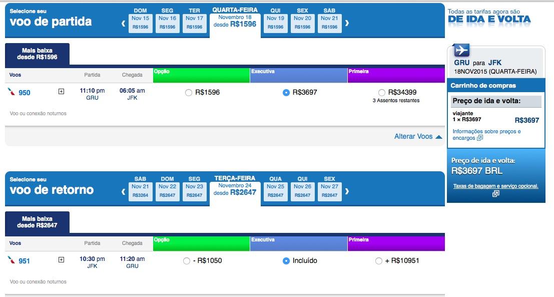 ALERTA DE TARIFAS! American Airlines vende passagens na classe executiva para Nova York, Miami, Las Vegas, por menos de R$ 4k!