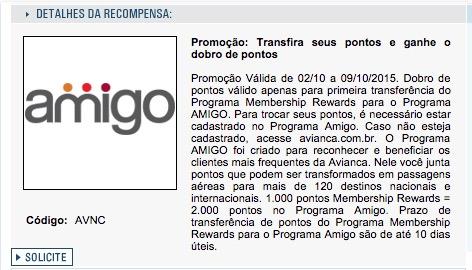 Amex oferece 100% de bônus para o Amigo Avianca para quem nunca transferiu seus pontos para esse programa