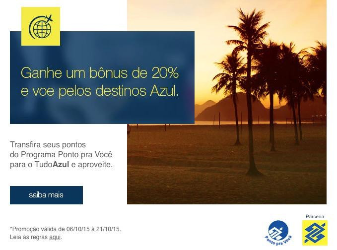 Tudo Azul oferece 20% de bônus nas transferências dos cartões do Banco do Brasil