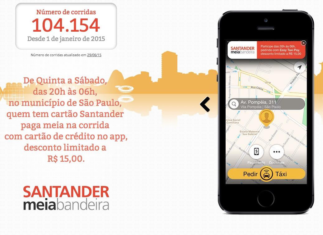 Dica da leitora: Easy Taxi oferece meia bandeira nas corridas pagas com cartões Santander, em São Paulo, nas noites de quinta a sábado
