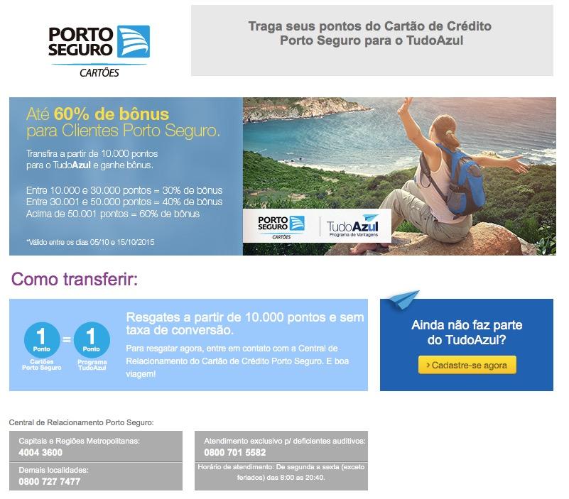Tudo Azul oferece 30%, 40% e 60% de bônus nas transferências de pontos dos cartões Porto Seguro