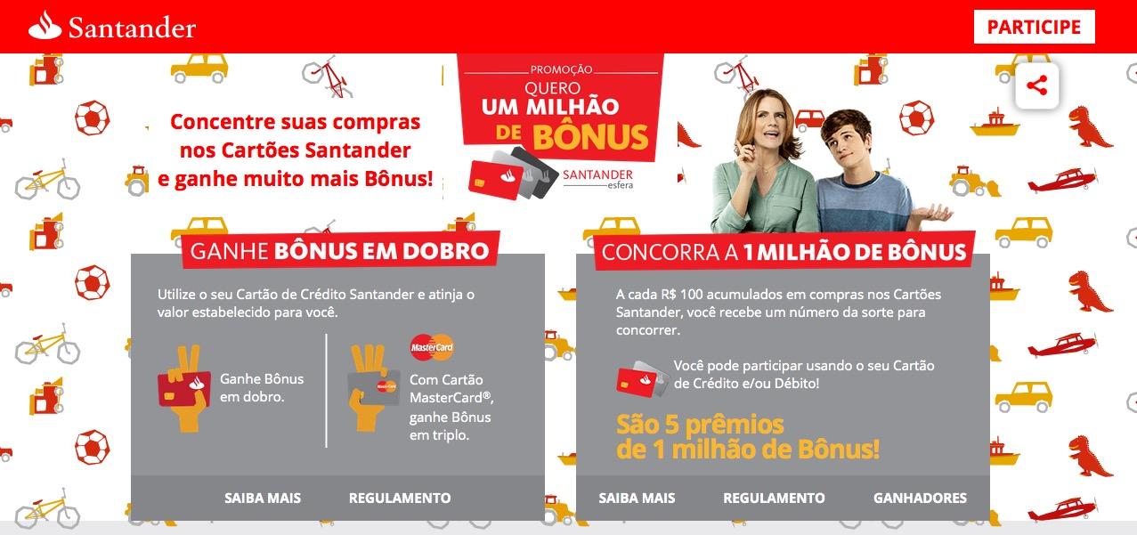 Santander lança nova promoção oferecendo bônus em dobro e em triplo, e 5 sorteios de 1 milhão de pontos