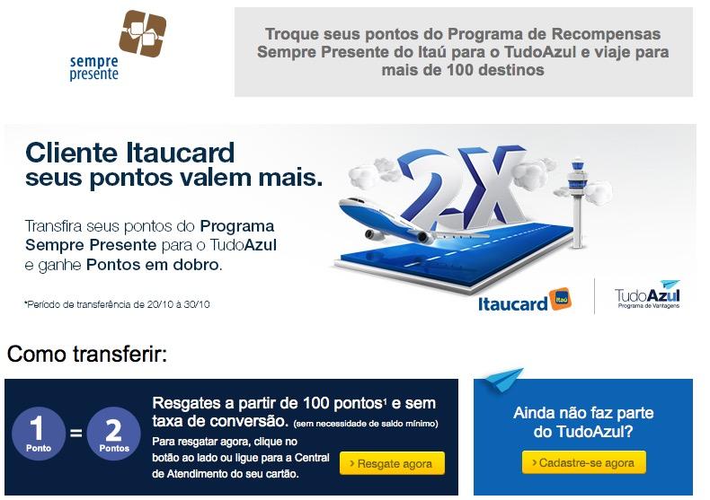 Tudo Azul oferece pontos em dobro para quem transferir dos cartões Itaucard. Cartões Credicard também participam!