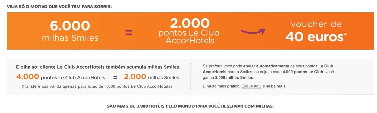 Smiles permite resgatar 6.000 milhas por 2 mil pontos Le Club Accor (voucher de 40 euros)
