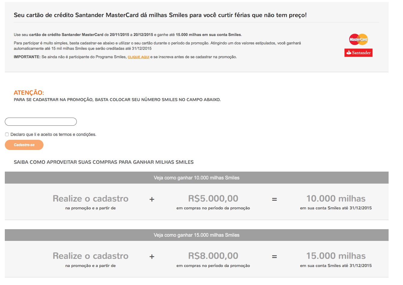 Exclusivo! Smiles lança promoção com Santander Mastercard que permite o ganho de até 15.000 milhas extras!