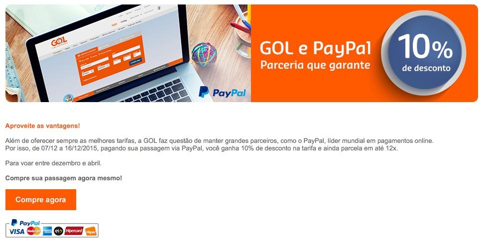 PayPal oferece 10% de desconto e parcelamento em até 12x nas compras de passagens aéreas Gol