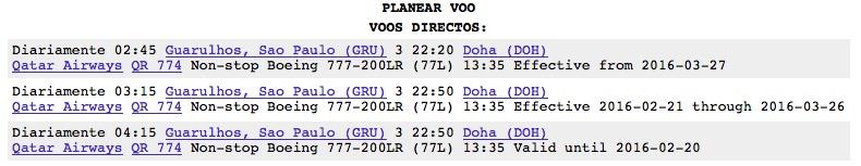 O péssimo horário de saída de Guarulhos do voo internacional da Qatar para Doha: 3:45 da madrugada.