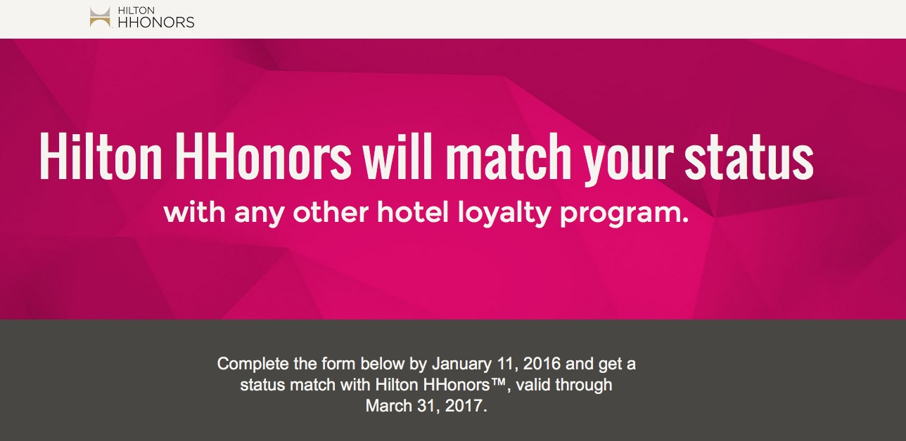 Hilton Honors lançou página específica para status match