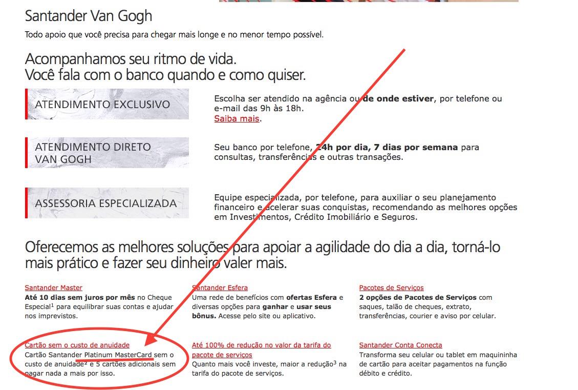 Santander passa a cobrar anuidade dos cartões de crédito Visa nos pacotes Van Gogh, *MESMO* para quem aderir aos pacotes de serviços