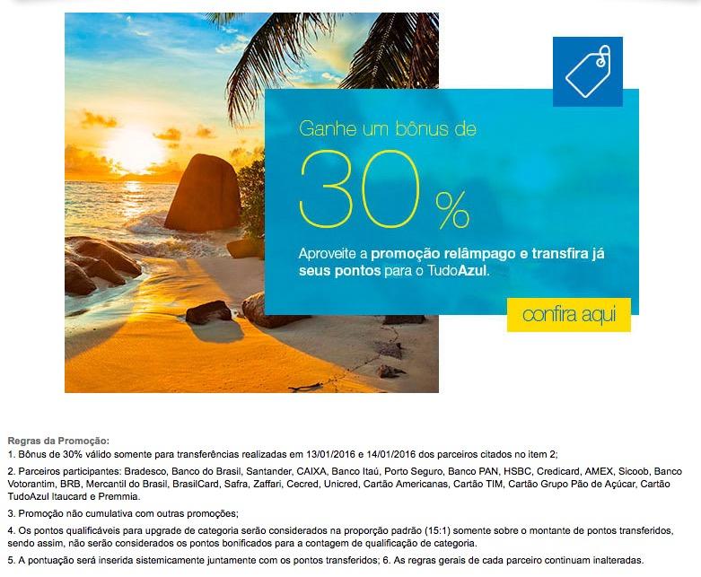 Tudo Azul oferece 30% de bônus nas transferências de cartões de crédito