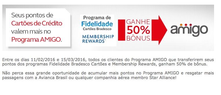 Amigo Avianca oferece bônus de 50% nas transferências de pontos dos cartões Bradesco e Amex