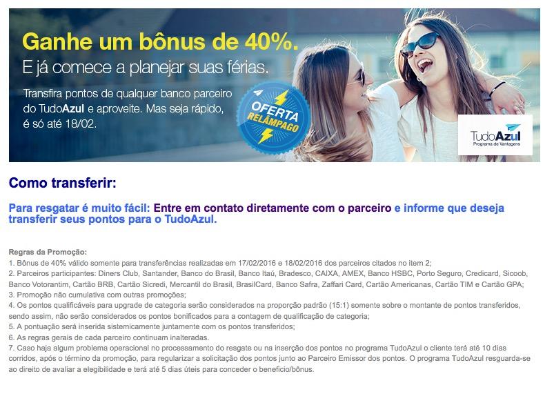 Promoção relâmpago do Tudo Azul oferece bônus de 40% nas transferências de pontos