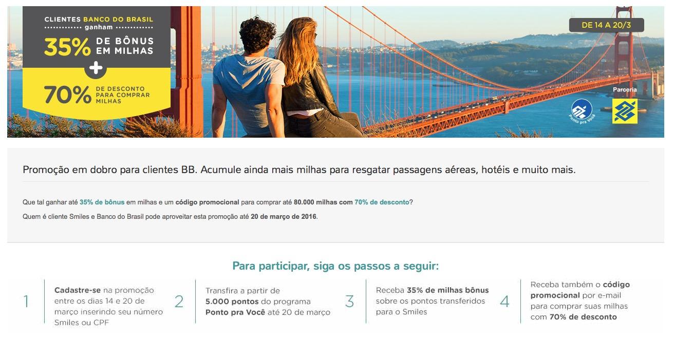 Smiles oferece aos clientes BB 35% de bônus nas transferências e compra de milhas a R$ 0,02 cada milha