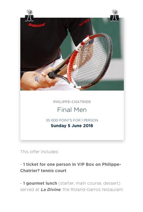Le Club oferece troca de pontos por pacotes promocionais para Roland Garros, com ingresso e almoço