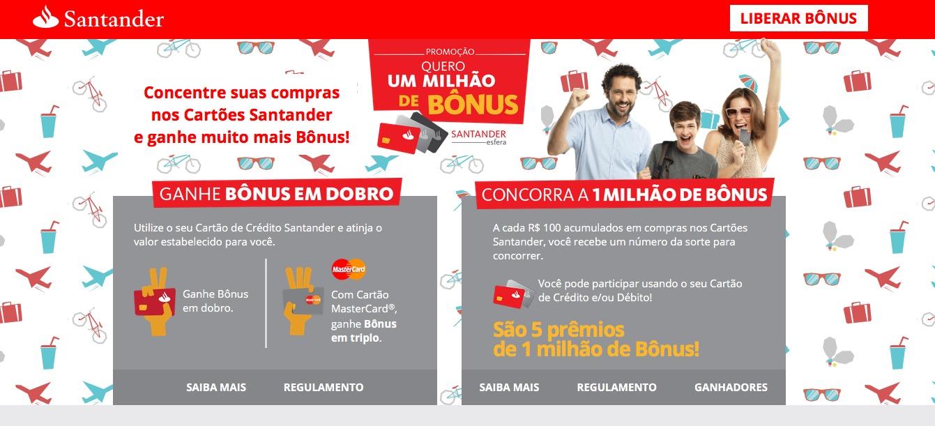 Santander libera bônus da última promoção de bônus em dobro e em triplo