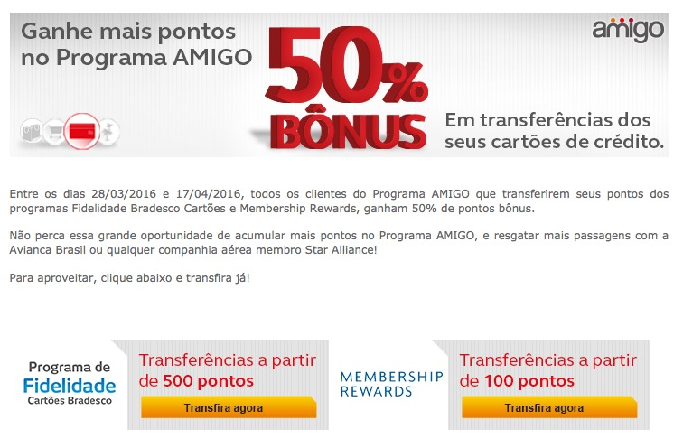 Amigo Avianca se junta ao time das promoções e oferece 50% de bônus nas transferências dos cartões Bradesco