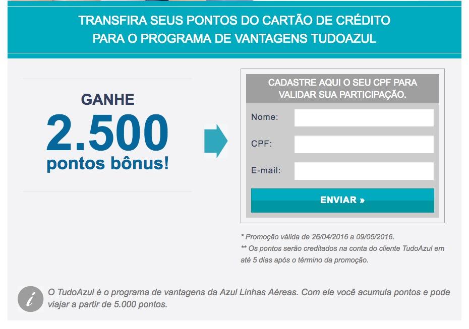 Max Milhas oferece bônus de 2.500 pontos para transferências de cartões de crédito para o Tudo Azul