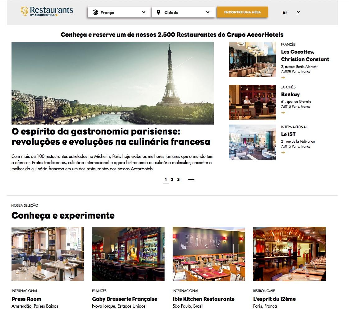 Accor lança site que permite não hóspedes de fazerem reservas em seus restaurantes de hotel