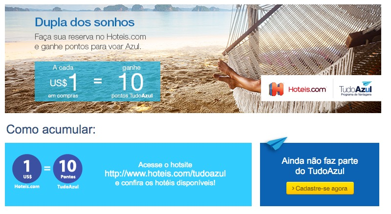 Tudo Azul lança parceria com Hotéis.com e oferece 10 pontos por dólar no lançamento
