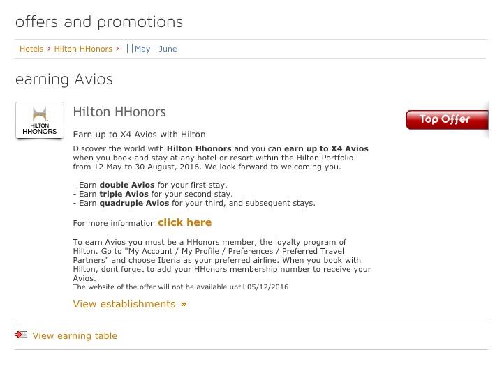 Ganhe até o quádruplo de Avios Iberia hospedando-se nos hotéis da rede Hilton – até 6 Iberia Avios por dólar!