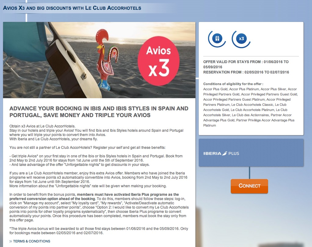 Ganhe o triplo de Avios hospedando-se nos hotéis Ibis e Ibis Styles em Portugal e na Espanha