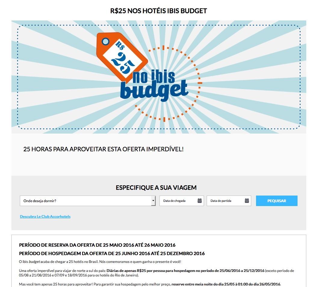 Ibis Budget lança oferta com diárias a R$ 25 por pessoa. Tarifa não reembolsável, não gera pontos e não conta como estadia qualificada Le Club