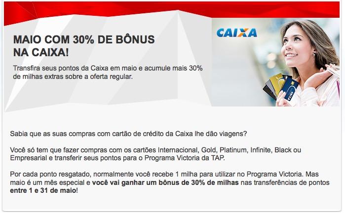 Victoria TAP oferece 30% de bônus nas transferências dos cartões Caixa!