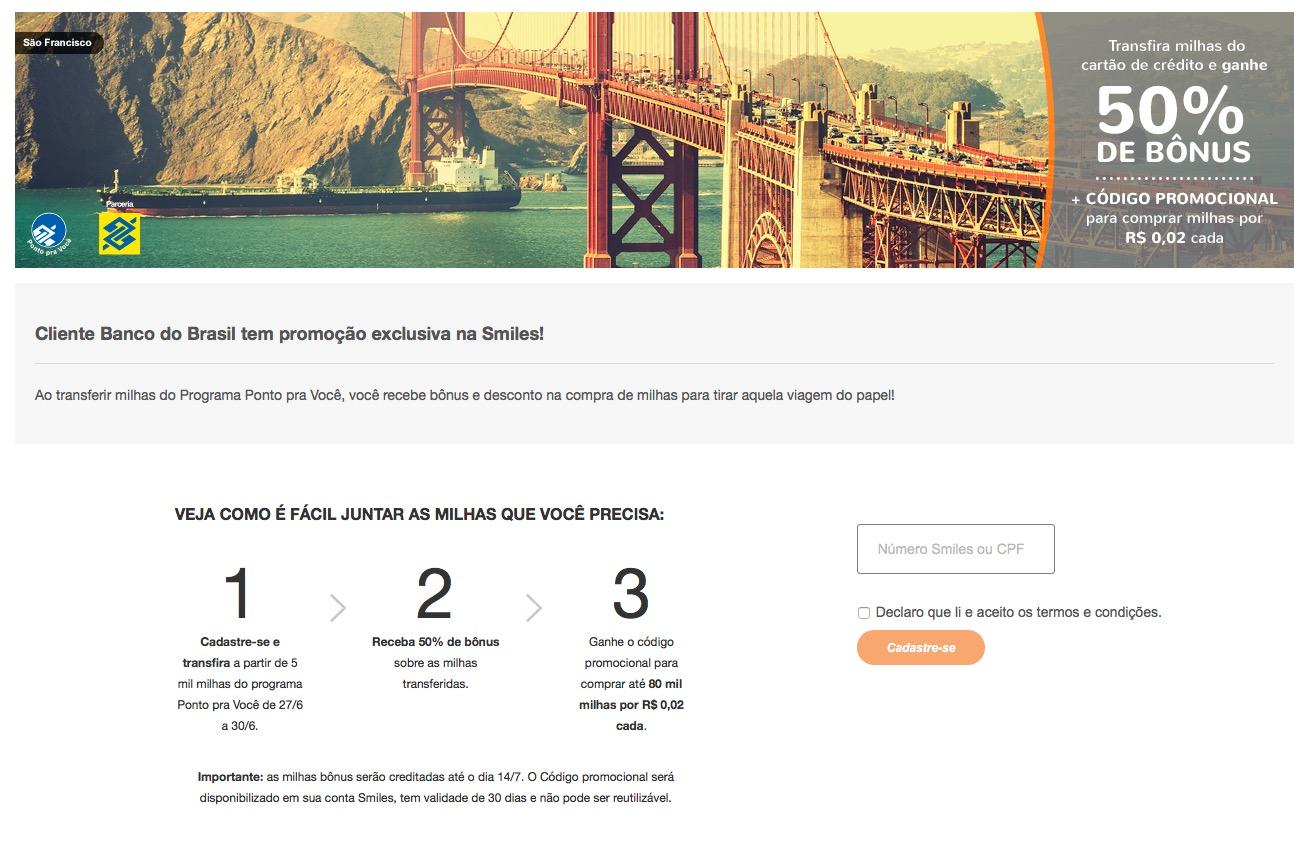 Cartões BB com mais uma interessante promoção: 50% de bônus para Smiles + compra de milhas por R$ 0,02/milha