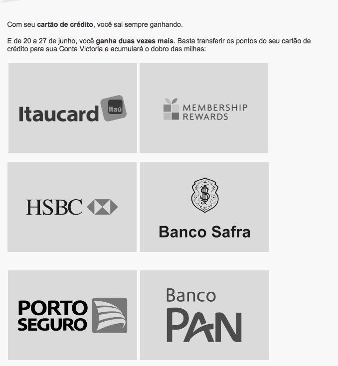 Victoria TAP oferecendo o dobro de milhas nas transferências de cartões de crédito (não todos)