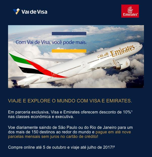 Dica do leitor: desconto de 10% na Emirates com a Visa