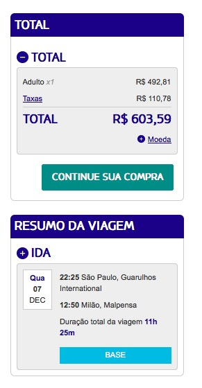 ALERTA DE TARIFAS! GRU-Milão (só a perna de ida) por R$ 603,59, voando LATAM, *COM TAXAS INCLUÍDAS*!