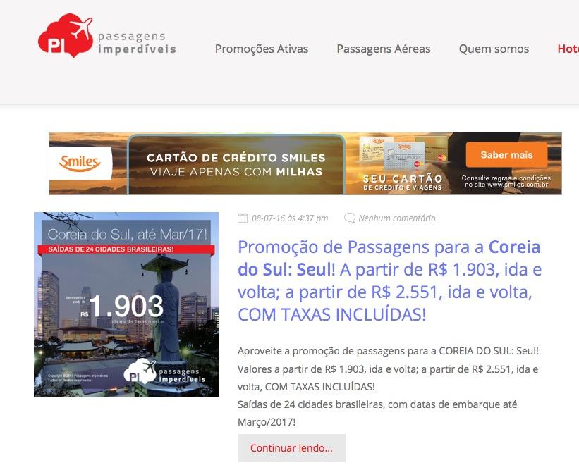 Site recomendado: Passagens Imperdíveis – o melhor blog sobre promoções de passagens aéreas, e o único que mostra o valor total *COM TAXAS INCLUÍDAS*