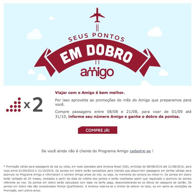 Amigo Avianca oferece pontos em dobro para passagens aéreas compradas com dinheiro  em voos Avianca