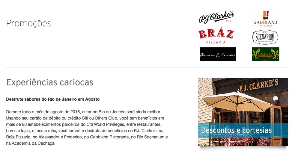 Clientes dos cartões Citi e Diners têm descontos em estabelecimentos parceiros no Rio de Janeiro