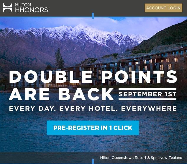 Hilton Honors continuará com sua promoção de pontos em dobro, de 1º de setembro até o final do ano!