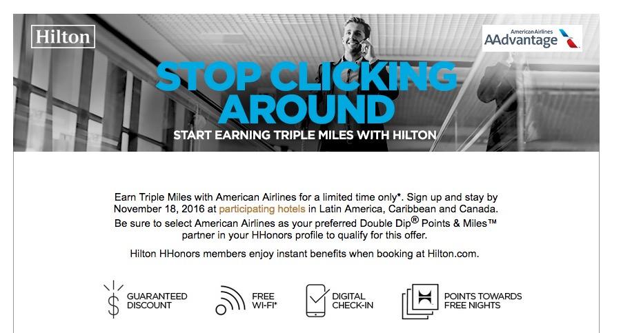 Ganhe o triplo de milhas AAdvantage, em hotéis selecionados no Canadá, Caribe e América Latina, no programa Hilton Honors