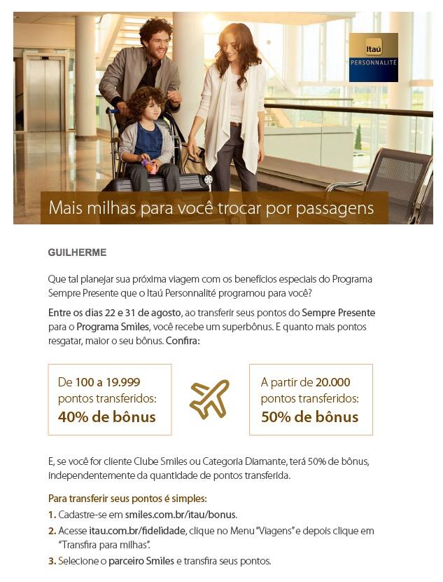 Itaú oferece bônus de 40% e 50% nas transferências para o Smiles