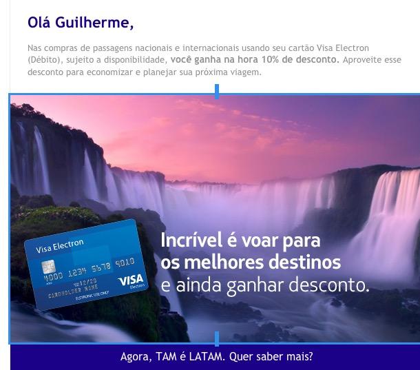 Utilize o cartão de débito Visa Eletron e ganhe 10% de desconto na compra de passagens na LATAM