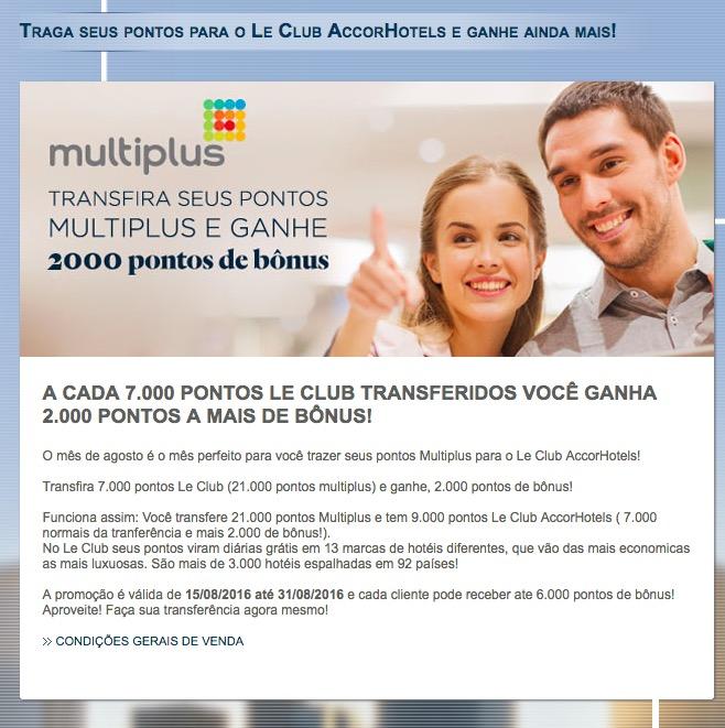 Transfira 21.000 pontos Multiplus para o Le Club (7k pontos Le Club) e receba 2.000 pontos Le Club extras