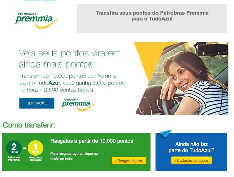 Promoção 50% de bônus Tudo Azul ao transferir 10.000 pontos do Petrobras Premmia