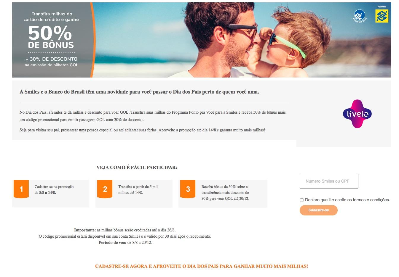 Smiles oferece bônus de 50% nas transferências do BB, e [novidade] um código promocional para a compra de passagens aéreas com dinheiro
